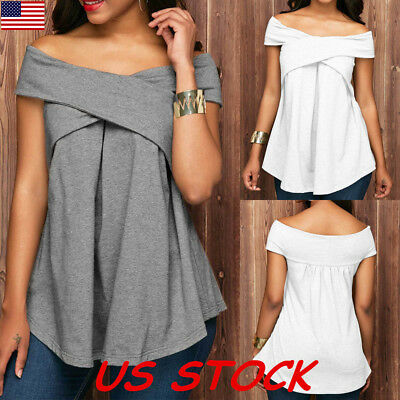 Fashion Womens Summer Boat Neck Off Shoulder Sexy Tops Blouse Casual T Shirt USA