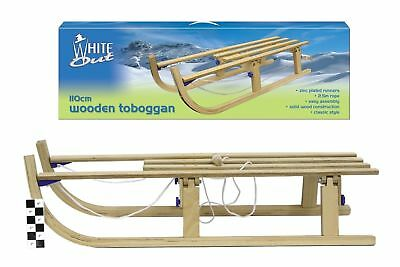 New Kids Snow Sled Slide Wooden With Zinc Plated Runner & Rope Handles Fun Gift