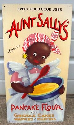 EVERY GOOD COOK Uses AUNT SALLY'S Pancake Flour BIG SIZED Vintage Metal Sign