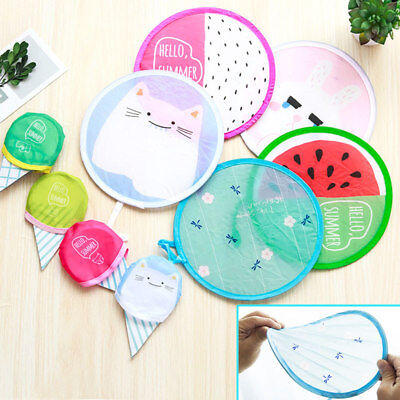 Cute Cartoon Pattern Portable Round Hand Fan Cooling Frisbee Pocket Portable Fan