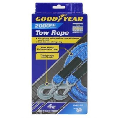Goodyear 4m 2000kg Heavy Duty Tow Rope Towrope Car Van DIY Breakdown Recovery