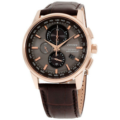 Citizen World Chronograph A-T Grey Dial Leather Strap Men's Watch AT8113-04H