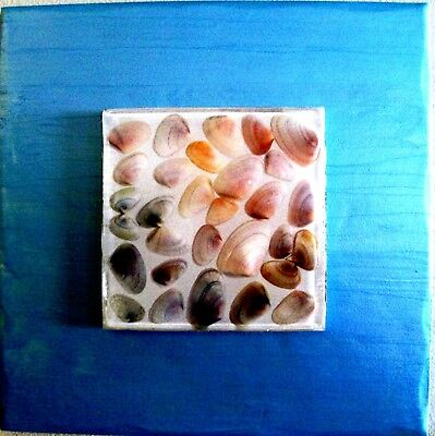 Handcrafted Wall Art- Shell Mosaic in Resin on White Ceramic & Ocean Blue Border