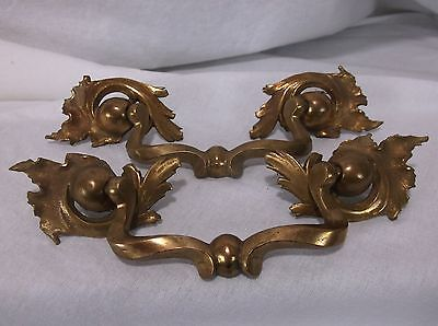 2 Heavy Unique Vintage Antique Brass Drawer Dresser Pull  Victorian Scroll Deco