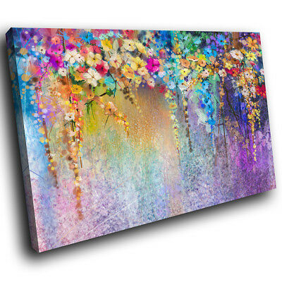 AB1535 Colourful Flowers Modern Abstract Canvas Wall Art Large Picture Prints