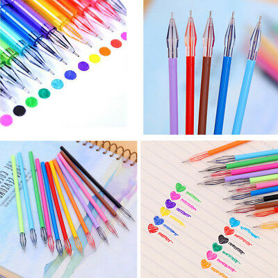 12Pcs Set Candy Color Diamond Gel Pen School Supplies Draw Refil Ink Pen Student