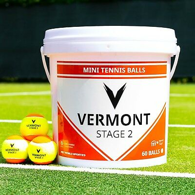 Vermont Mini Orange Tennis Balls | Stage 2 | 60 Ball Capacity | ITF Approved