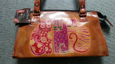 Laurel Burch Vintage Leather Purse with Cats Feline Friends New NWT