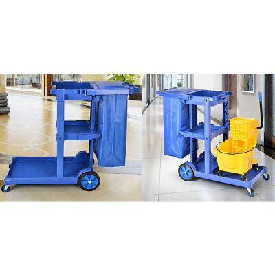 Commercial Housekeeping Janitorial cart Tool Car with Vinyl Bag With Cover Blue