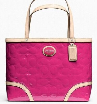 4b09afd4b631 Nwt Coach 22322 Peyton Embossed Patent Leather Magenta Hot Pink Tote Purse  Bag