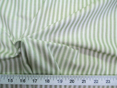 Uptown Fabric Upholstery Drapery Ticking Stripe Green And White