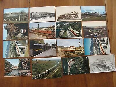 Lot De 15 Cartes Postales Trains Rame Automoteur Et Une Illustration