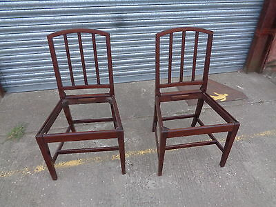 An Antique Pair of 18th Century Mahogany Dining Chairs Splat Backs Restoration