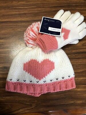 New West Loop Girls Heart Hat and Gloves Set