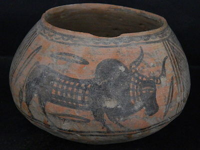 Ancient Large Size Teracotta Indus Valley Painted Pot With Bulls 2000 BC #K465#