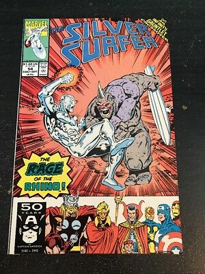 "Silver Surfer#54 Incredible Condition 9.0(1991) Rhino""Infinity Gauntlet"" Lim Art"