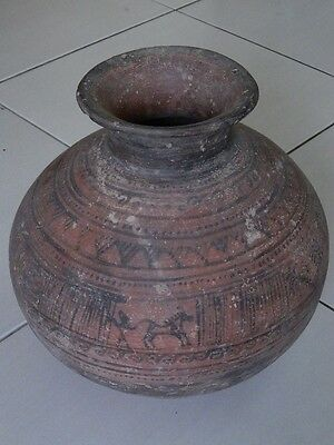 Ancient Huge Size Teracotta Indus Valley Painted Pot With Bulls 2000 Bc #k508# Antiquities
