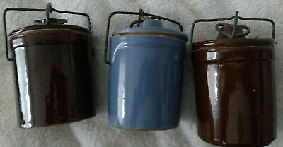 Lot of 3 Stoneware Cheese Butter Crock 2 Brown Glaze 1 Blue Bail Wire Clamp Lids