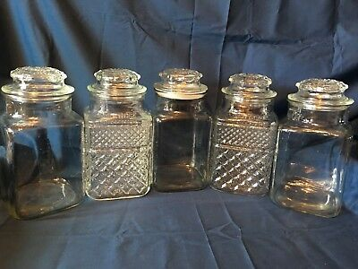LOT Large VINTAGE APOTHECARY GLASS JARS CANISTER CANDY Buffet PHARMACY WEDDING