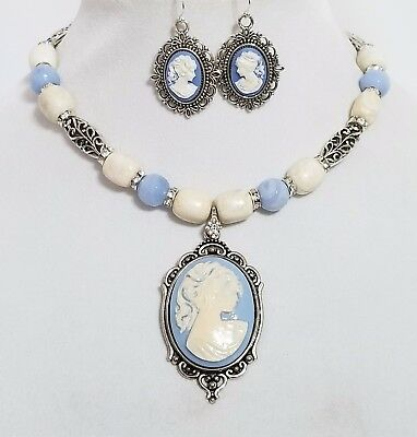 Elegant Vintage Cameo Pendant Gemstone Necklace Earrings One of a Kind