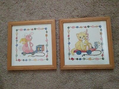 "pair of matched frames ""small pull toys"" print art"