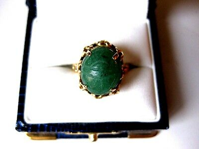 "VINTAGE 14K Y/G RING ""ANCIENT EGYPTIAN REVIVAL"" with SCARAB of GREEN STONE"