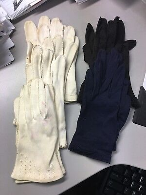 5 Pairs Vintage Women's Dress Gloves Black Embroidery Aris, blue white