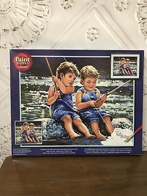 NEW Paint Works Dimensions Paint By Numbers Kit Fishing Pals #91414