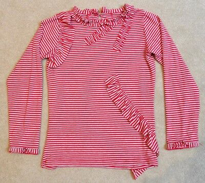 Girls grey/red striped long sleeved top with frills