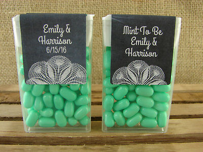 Personalized Wedding Tic Tac Favors Chalk Lace Design Mint To Be