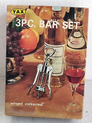 Retro 3 Piece Yax Bar Set, Japan, Winged Corkscrew, Pickle Grabber, Knife (7278)