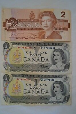 Canada - 3 x Vintage Bank Notes - 2 x 1973 One Dollar Notes - 1 x 1986 2 Dollar.