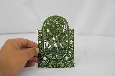 Gorgeous Hand-Carved Antique Chinese Jade Plaque of Dragon & Phoenix Great Cond.