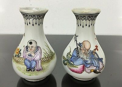 Gorgeous Pair Of Antique Chinese Vases Possibly Republic Era Fine Details