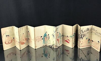 Magnificent Antique Chinese Painted Book With Nude Drawings Fine Details Qing