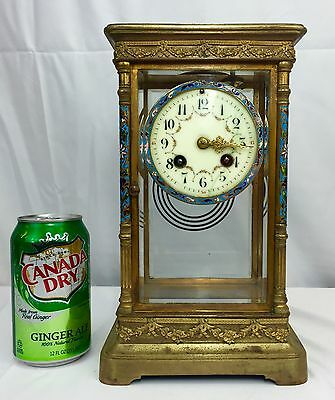 wonderful. Antique French  Reticulated Clock Bronze Enamel
