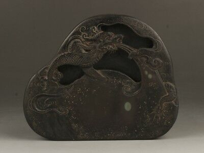 Chinese Exquisite Hand-carved Dragon carving Duan Inkstone (端硯)
