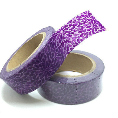 Washi Tape Purple Petals 15Mm X 10Mtr Planner Craft Wrap Scrap Mail Art