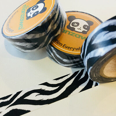 Washi Tape Black Animal Print 15Mm X 10Mtr Planner Craft Wrap Scrap Mail Art