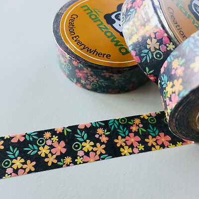 Washi Tape Warm Dark Floral 15Mm X 10Mtr Planner Craft Wrap Scrap Mail Art