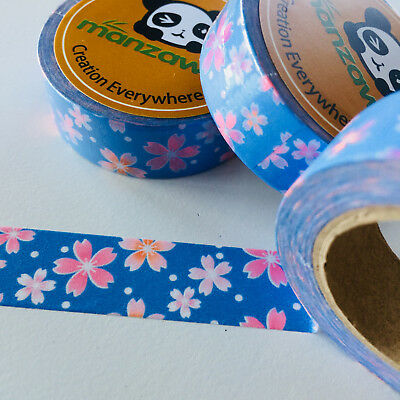 Washi Tape Pink Sakura On Blue 15Mm X 10Mtr Planner Craft Wrap Scrap Mail Art