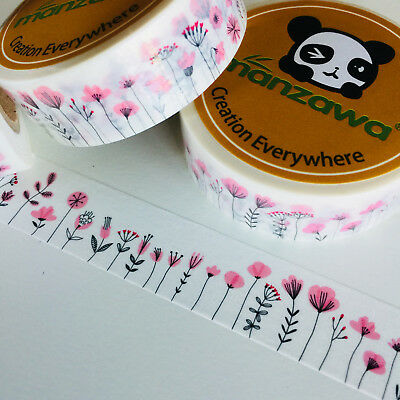 Washi Tape Pink Meadow Flowers 15Mm X 10Mtr Planner Craft Wrap Scrap Mail Art