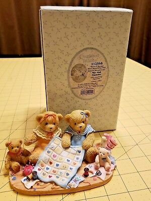 2003 Cherished Teddies Mia and Paulette 112546 Girls Quilting Sewing Friendship