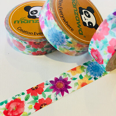 Washi Tape Bright Flower Power 15Mm X 10Mtr Planner Craft Wrap Scrap Mail Art