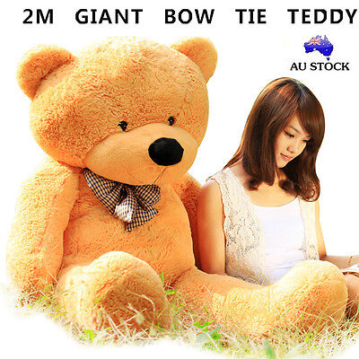 Huge 200Cm Giant Caramel Teddy Bear Bow Tie Cuddly Soft Plush Toy Doll Stuffed