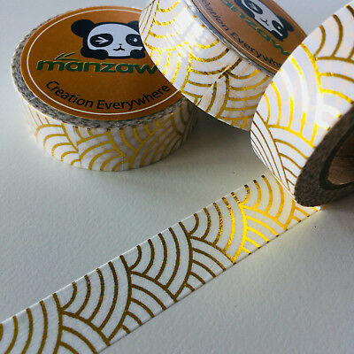 Washi Tape Gold Foil Japanese Wave 15Mm X 10Mtr Plancraft Wrap Scrap Mail Art