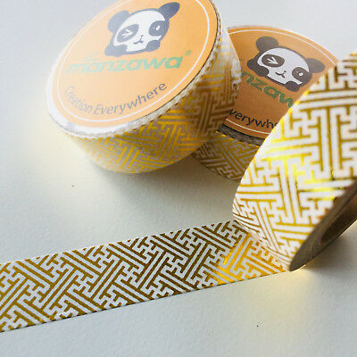 Washi Tape Gold Foil Maze 15Mm X 10Mtr Planner Craft Wrap Scrap Mail Art