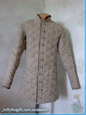 New Medieval thick padded Camel Color Gambeson Aketon Jacket Armor reenactment