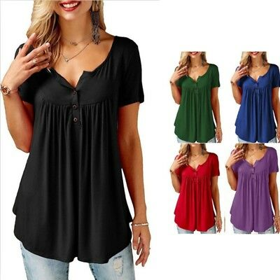 Women Short Sleeve Button Blouse Tunic T-Shirt V Neck Casual Solid Color Fashion