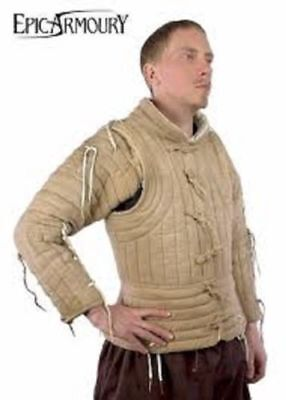 Medieval Celtic Viking Padded Armour Camel Color Gambeson With full Sleeves